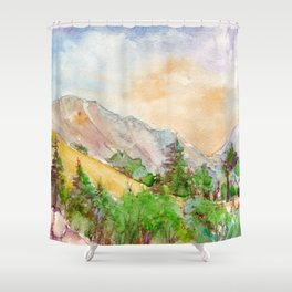 Landscape with mountains and blue sky painted by watercolor Shower Curtain