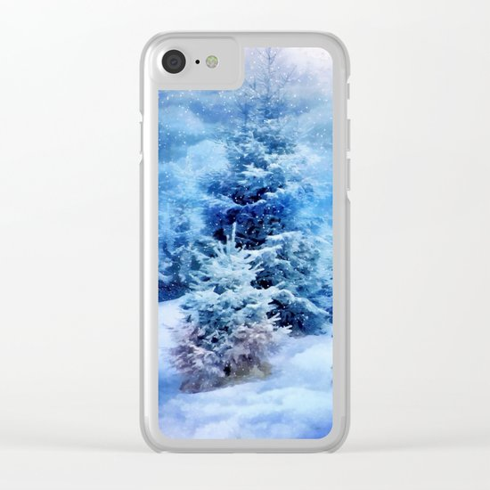 Christmas tree scene Clear iPhone Case