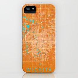 Wichita, KS, USA, Gold, Blue, City, Map iPhone Case