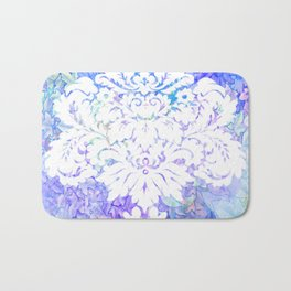 White Pattern on Floral Background Bath Mat