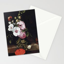 "Cornelis Kick ""Roses, poppies, hollyhocks, a marigold and other flowers"" Stationery Cards"