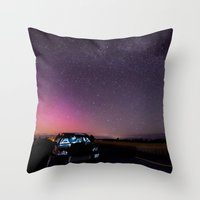 subaru Throw Pillows featuring Nocturnal Subaru by Race Jones