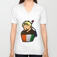 niall V-neck T-shirts featuring Cupcake Niall by Babi
