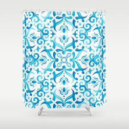 Traditional Seamless Mediterranean Ornament. Tile Pattern in Majolica Style Shower Curtain