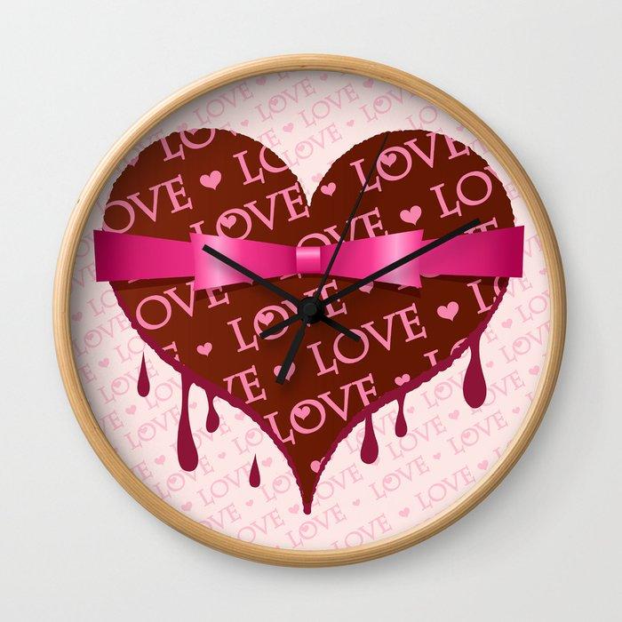So sweet LOVE - chocolate, heart shape, valentine, ribbon, gift, pink Wall Clock
