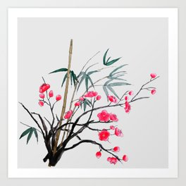 bamboo and red plum flowers Art Print