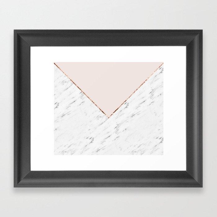 Peony blush geometric marble Gerahmter Kunstdruck