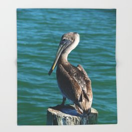 Pelican On A Pole Throw Blanket
