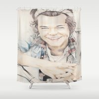 harry styles Shower Curtains featuring Harry Styles by FukoArt