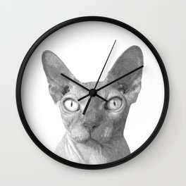 Black and White Sphynx Cat Wall Clock
