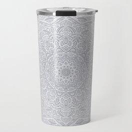 Most Detailed Mandala! Cool Gray White Color Intricate Detail Ethnic Mandalas Zentangle Maze Pattern Travel Mug