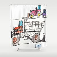 pocket fuel Shower Curtains featuring Taking on Fuel by Ryan van Gogh