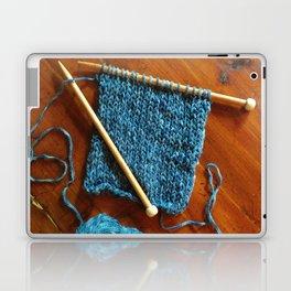 knitting photo, denim, denim photo, blue, wood, knitting, knit, brown, Laptop & iPad Skin