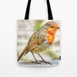 Christmas Robin Winter Watercolor Tote Bag