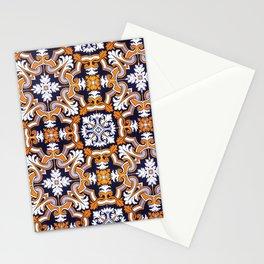 Portuguese Tiles Azulejos Blue Orange Pattern Stationery Cards