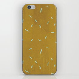 Vintage chic yellow mustard blue watercolor brushstrokes iPhone Skin