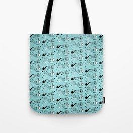Vintage Hipster Elements Pattern on blue Tote Bag