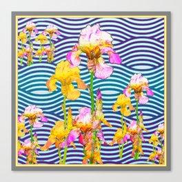 Colorful Iris Water Garden Art Pattern Canvas Print