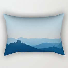 Castle in blue misty mountains Rectangular Pillow