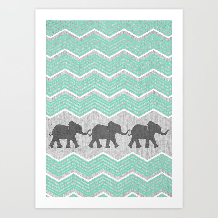 Three Elephants - Teal and White Chevron on Grey Art Print
