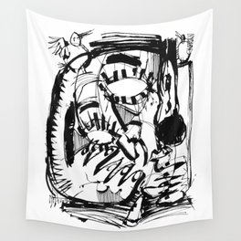 The Scholar - b&w Wall Tapestry