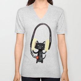 I Love Huge Headphone Unisex V-Neck