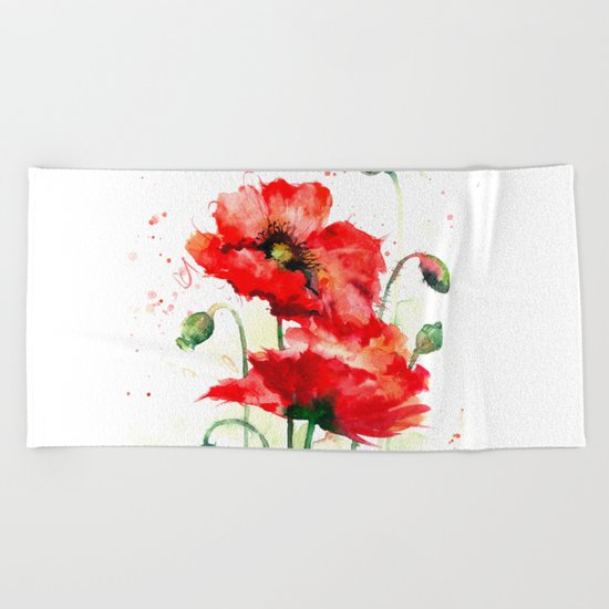 Watercolor flowers of aquarelle poppies Beach Towel