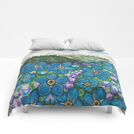 Mountains and Forget-Me-Nots Comforters