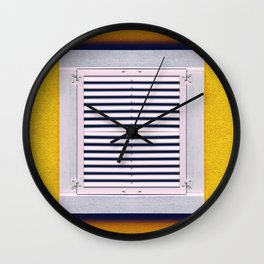 single closed white Window on a yellow old wall Wall Clock
