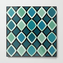 Midcentury Warped Diamonds Teal Metal Print