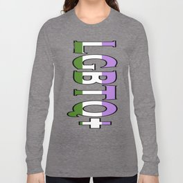 LGBTQ+ Font with Queer Flag Long Sleeve T-shirt