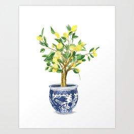 Lemon tree , watercolor painting Art Print
