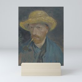 Self-Portrait with Straw Hat and Pipe Mini Art Print