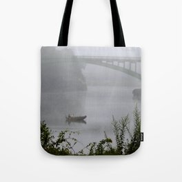 Foggy Fishing Day on the Delaware River Tote Bag