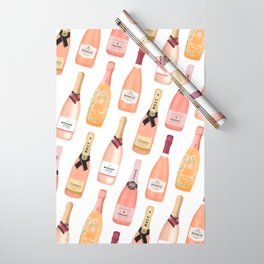 Rose Champagne Bottles Wrapping Paper