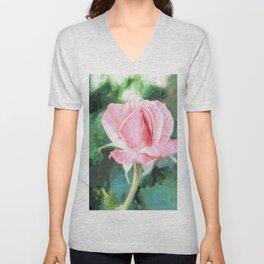 Pink Rose Unisex V-Neck