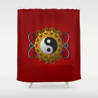 yin yang Shower Curtains featuring Yin Yang by Pedro Vale
