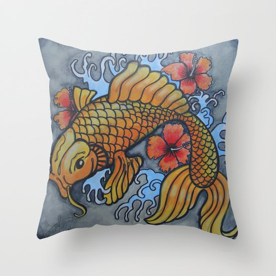 koi fish 02 Throw Pillow