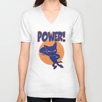 power V-neck T-shirts featuring Power! by BATKEI