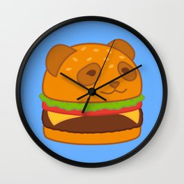 Kawaii Panda Burger Wall Clock