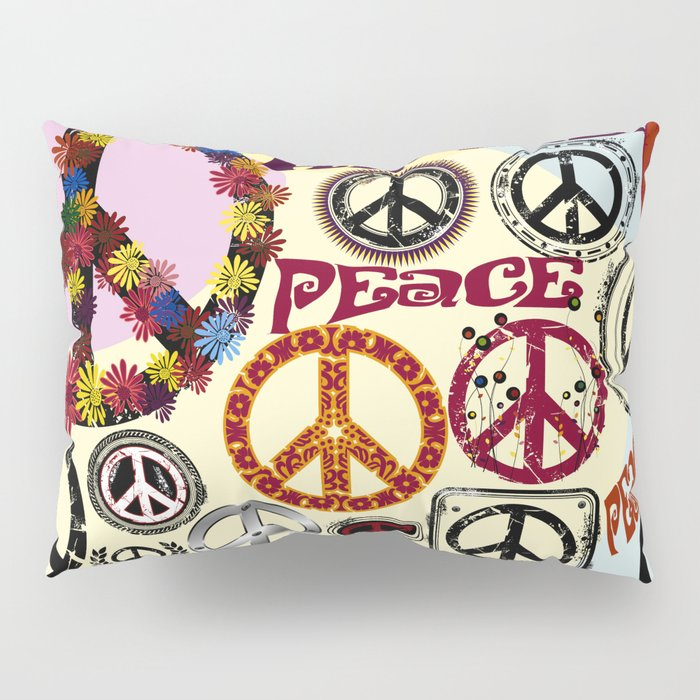 Flower Power Peace Signs Coctail Pillow Sham