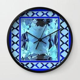 AQUAMARINE MARCH GEM BIRTHSTONE MODERN ART Wall Clock