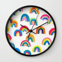 Abstract Rainbow Arcs - White Palette Wall Clock
