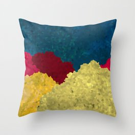 Abstract Mosaic Mountains Art With Vibrant Golden Texture Throw Pillow