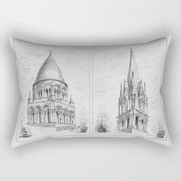 Georg Sutter - The Tower Book (1888): 16 Abbey Church, Saintes; Church of Saint Aubin, Limay Rectangular Pillow