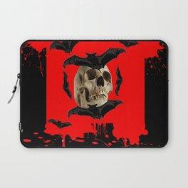 BAT INFESTED HAUNTED SKULL ON BLEEDING RED ON RED  ART Laptop Sleeve