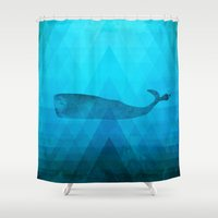 the whale Shower Curtains featuring Whale by Dnzsea