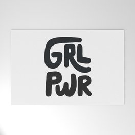 Grl Pwr black and white Welcome Mat