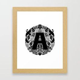 Letter A monogram wildwood Framed Art Print