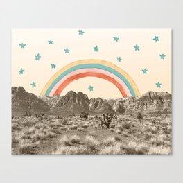 Canyon Desert Rainbow // Sierra Nevada Cactus Mountain Range Whimsical Painted Happy Stars Canvas Print